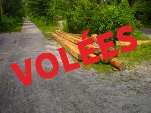 Des poutres appartenant au sentier ont été volées